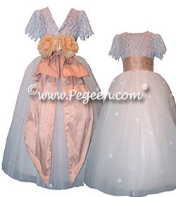 Lace flower girl dress with tulle Couture Dress