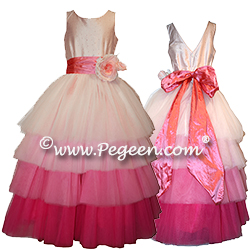 Ombre Silk Tulle Jr Bridesmaids Dress