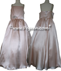 Cotillion or Couture Jr. Bridesmaids Dress in Silk Charmeuse over Silk, Rhinestone Trim and Spagetti Straps