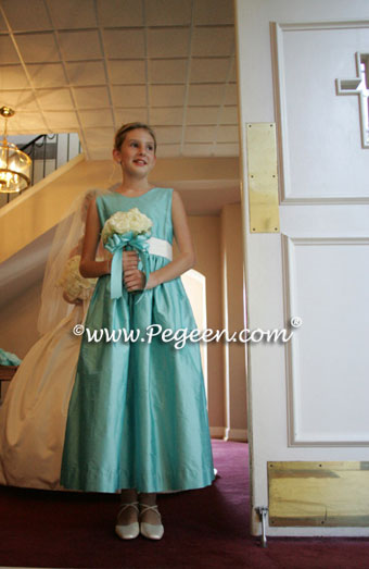 waterfall aqua junior bridesmaid dress