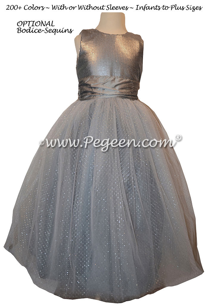 Silk Flower Girl Dresses with Sequined Bodice Style 372 | Pegeen
