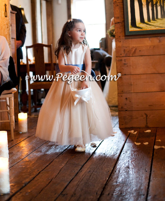 Flower Girl Dresses Of The Month In New Ivory, Pure Gold