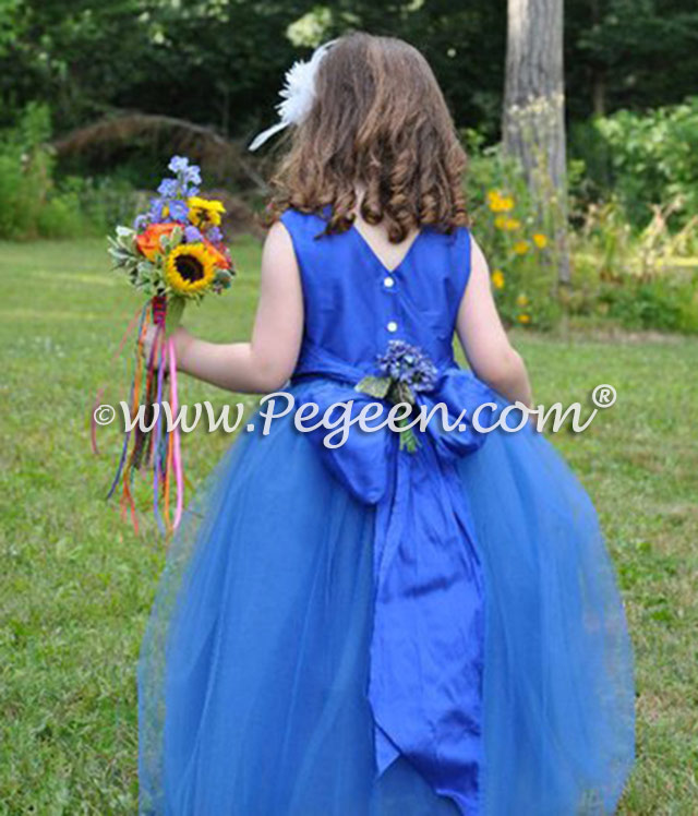 Malibu blue flower girl dresses in silk and tulle