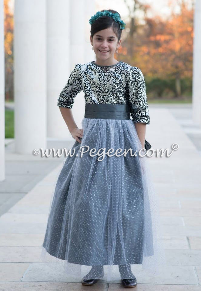 Custom Flower Girl Dresses in silver and sequins with 3/4 Sleeves Style 372