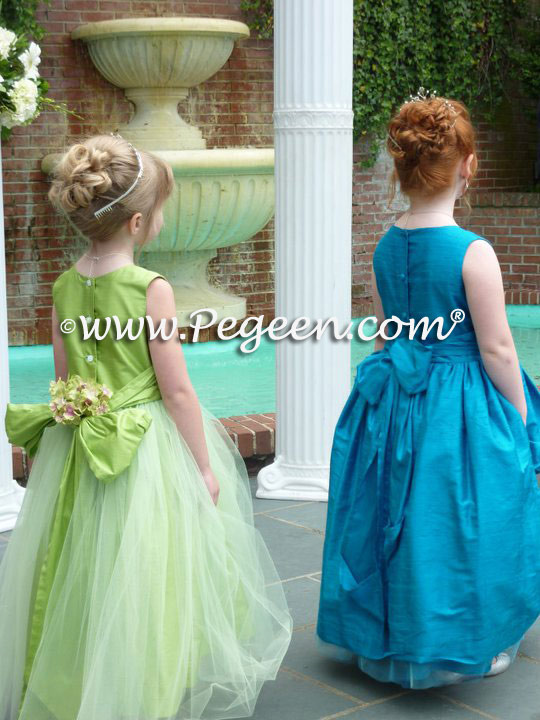 f7f7442ba8d Flower Girl Dress Style 356 in Apple and Style 603 in Peacock (teal)