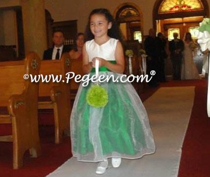 White And Emerald Green Flower Girl Dresses 95
