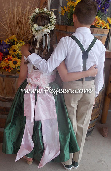 Flower Girl Dresses in basil green, petal pink and white silk with hand made silk roses from habotai silk - Pegeen Classic Style 383