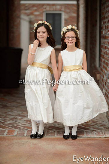 Flower Girl dresses in new ivory silk with spun gold sash Style 300 by Pegeen