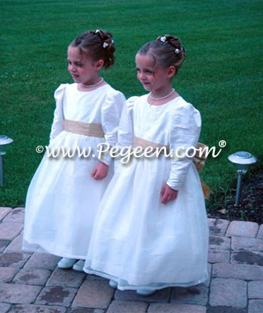 White and Gold Flower girl dresses with long sleeves | Pegeen Style 394