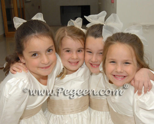 Ivory and Wheat Silk Flower Girl Dresses with long sleeves |  Pegeen