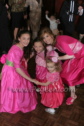 Hot Pink and Green Custom Bat Mitzvah Dress with 3/4 sleeves |  Pegeen