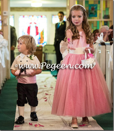 Bubble gum pink and cerise (hot pink) custom tulle flower girl dress style 402 and ring bearer suit style 509 from Pegeen Couture
