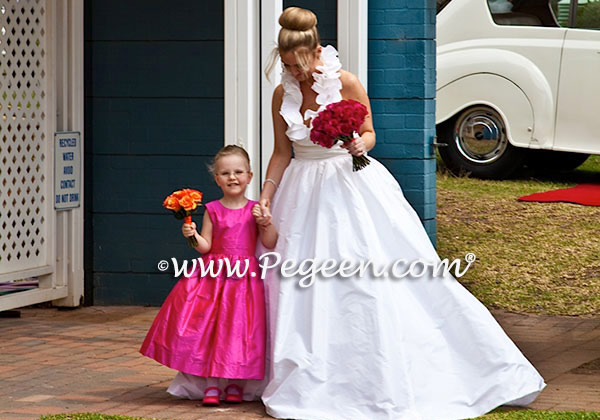 Custom Flower Girl Dresses Style 318 in Hot Pink Shock with matching Jr. Bridesmaid Style 320