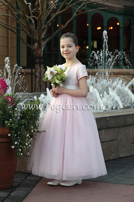 Flower Girl dress in Antique White and Peony Pink Tulle and Silk by Pegeen