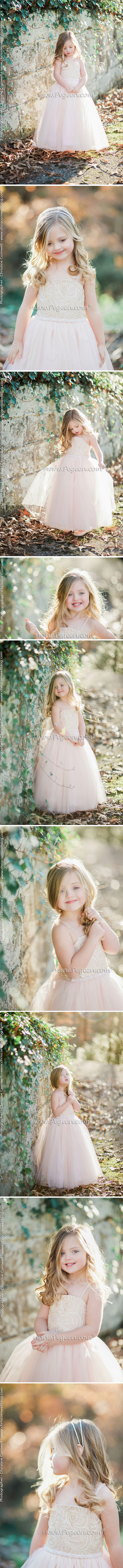 Flower Girl Dress  Morganite Fairy with Swarovski Crystals and tulle | Pegeen