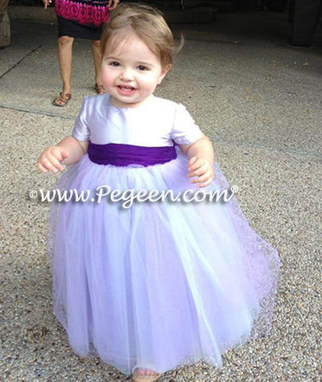 Deep Plum and lavender ballerina style Flower Girl Dresses with layers and layers of tulle