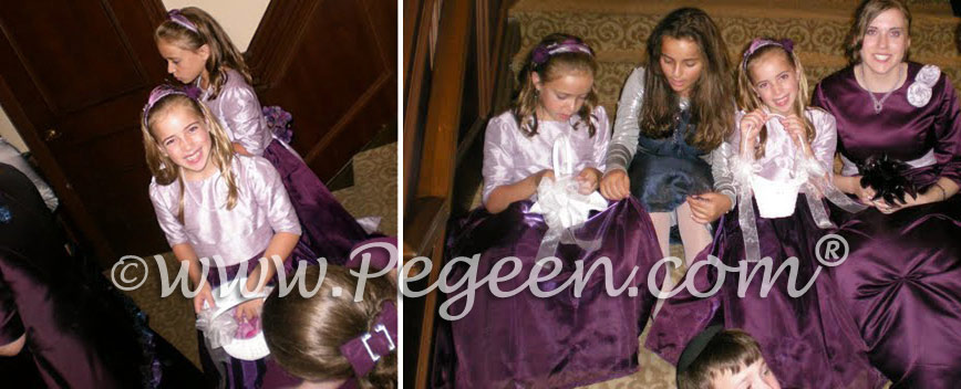 Plum and Orchid Flower girl dresses with 3/4 sleeves by Pegeen.com