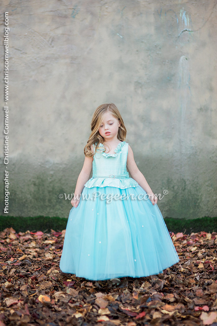Silk Flower Girl Dresses in Aqualine with Crystals Rhinestones, Fairytale Dress, Crystal Tulle | Pegeen