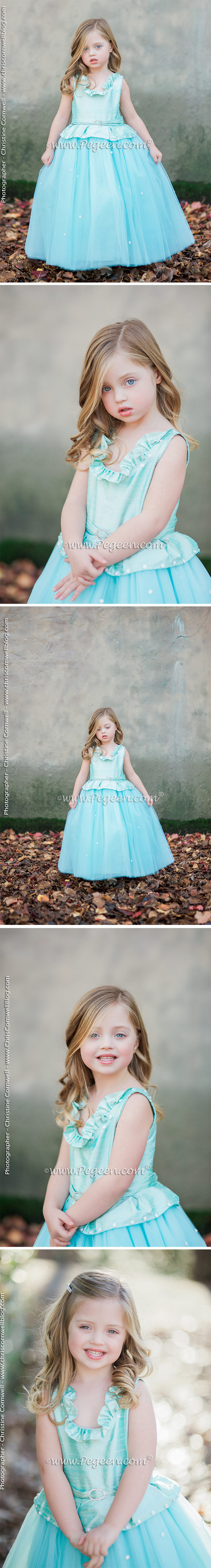 Cotillion or Couture Opal Fairy Flower Girl Dress w/Tulle, Pearled Silk Trellis, and sparkle tulle with cinderella sash