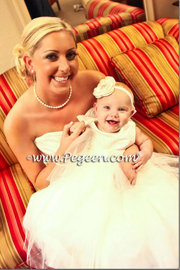 White Tulle Couture Silk Flower Girl Dresses - Pegeen Couture style 402
