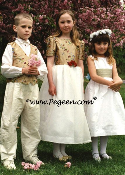 Boys Special Embroidered or Pintuck and Pearled Silk Vests
