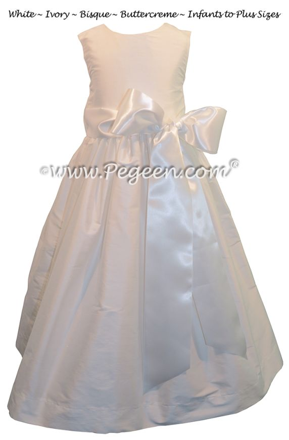 Flower Girl Dress Style 300 with Antique White Ribbon