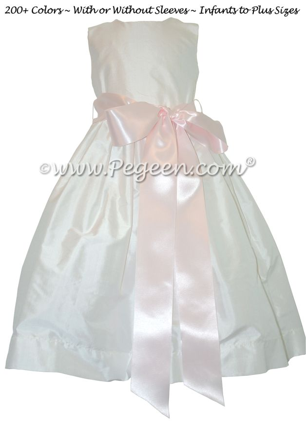 Flower Girl Dress Style 300 with Petal Pink Ribbon