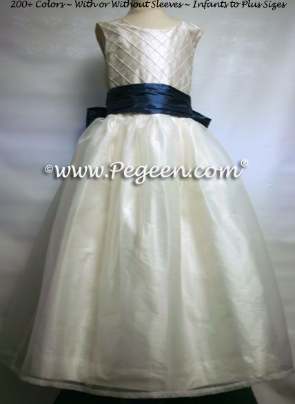 Flower Girl Dress Style 307 Shown in Storm Blue
