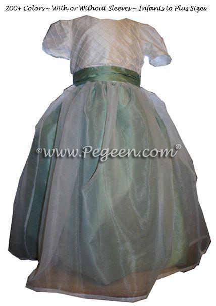 Flower Girl Dress Style 307 Shown in Celedon