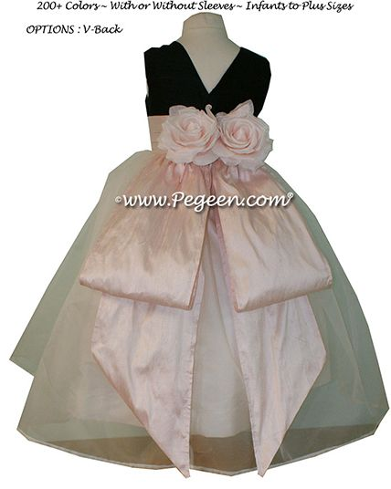 Flower Girl Dress Style 313 in Black and Peony Pink - one of 200+ colors