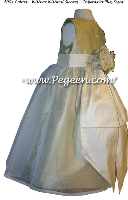 Flower Girl Dress Style 313 in Celery & Harvest Green - one of 200+ colors