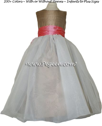 Flower Girl Dress Style 326 shown in Antigua Taupe and Gumdrop - one of 200+ colors