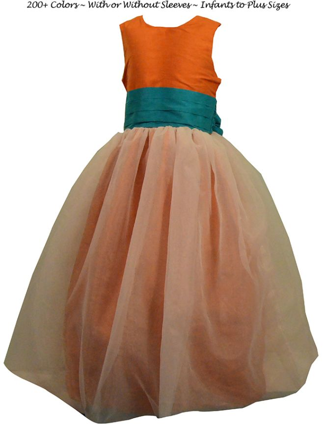Details Flower Girl Dress Style 326 shown in Turquoise and Carrot - one of 200+ colors