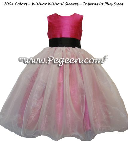 Flower Girl Dress Style 326 shown in Raspberry and Black - one of 200+ colors