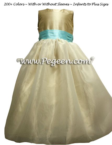 Flower Girl Dress Style 326 shown in Toffee and Pond - one of 200+ colors