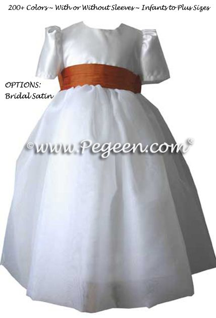 Flower Girl Dress Style 326 shown with sleeves in Pumpkin