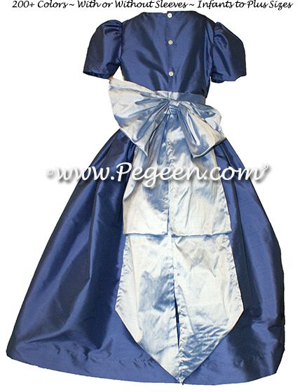 Flower Girl Dress Style 345 in Blue Berry and Wisteria - one of 200+ colors