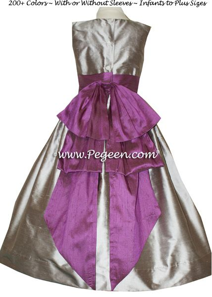 Flower Girl Dress Style 345 in Thistle and Wolf Grey - one of 200+ colors