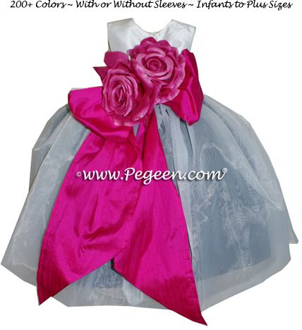 Flower Girl Dresses Style 802 . Silk flower girl dress with a ruffled sash and double layer of organza overskirt the silk lining available in 200+ colors of silk, from infants through plus sizes