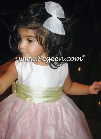 Toddler Flower Girl Dresses Style 802 . Silk flower girl dress with a ruffled sash and double layer of organza overskirt the silk lining available in 200+ colors of silk, from infants through plus sizes