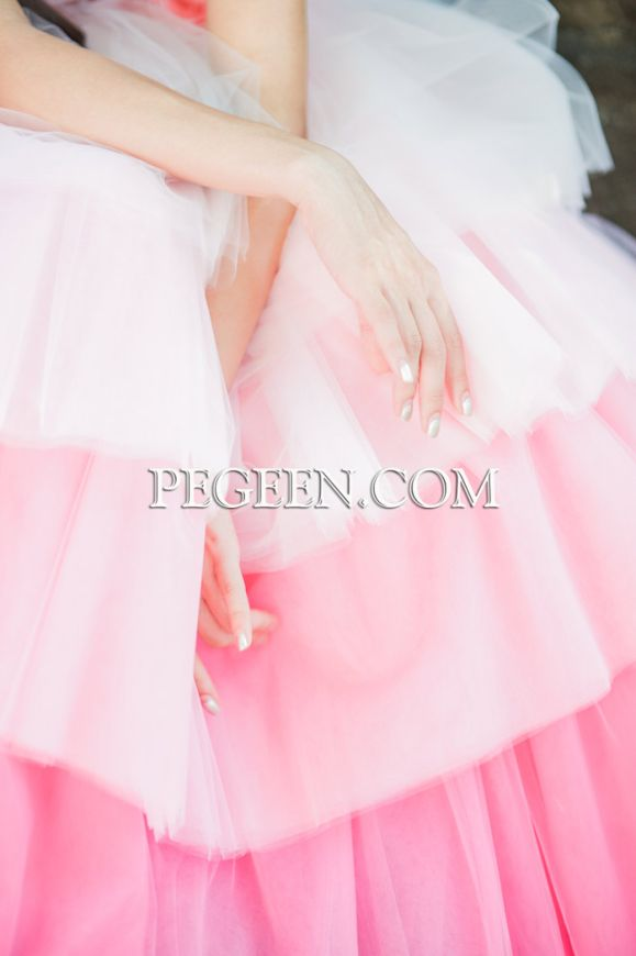 Ombre Tulle Silk Flower Girl or Jr Bridesmaids Dress Style 932