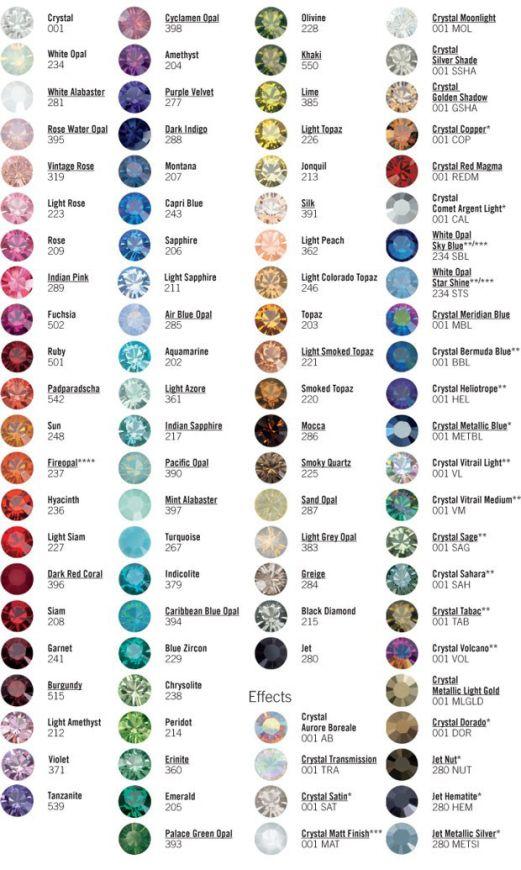 Crystal Swarovski colors