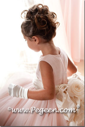 Flower girl dresses of the year  Style 402 - Degas Style Tulle Flower Girl Dress in Ballet Pink and Bisque or Ivory by Pegeen