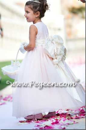 Pink tulle couture flower girl dress by Pegeen.com