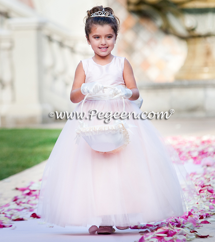 Flower girl dresses of the year  Style 402 - Degas Style Tulle Flower Girl Dress in Ballet Pink and Bisque or Ivory